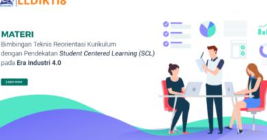 Nusantara Project MATERI Bimbingan Teknis Reorientasi Kurikulum dengan Pendekatan Student Centered Learning (SCL) pada Era Industri 4.0 untuk 150 Dosen di Lingkungan LLDIKTI Wilayah VIII.